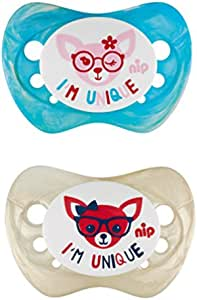 Nip Unique Soother 0-6 Months, Pack of 2 - Blue & Green - Blue and Green, 313125