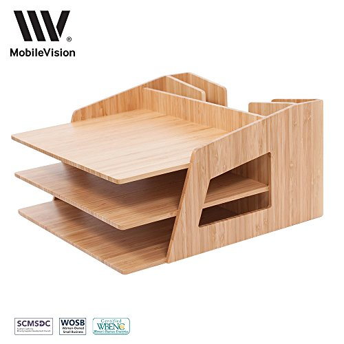 MobileVision Office Desktop Bamboo Organizer for Files, Paper Tray, Letter Sorter, Document Holder, 5 - Three In Returns Policy Store