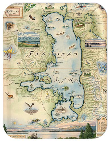 Trays4Us Flathead Lake 16x12 inches (Large) Map Serving Tray - 70+ Different Designs