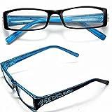 Blue Female Diamond Flower Frame Presbyopic Reading Glasses Eyeglasses 3.0 by STCorps7