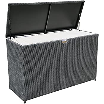 PATIOROMA Outdoor Patio Aluminum Frame Wicker Cushion Storage Bin Deck Box,  Gray