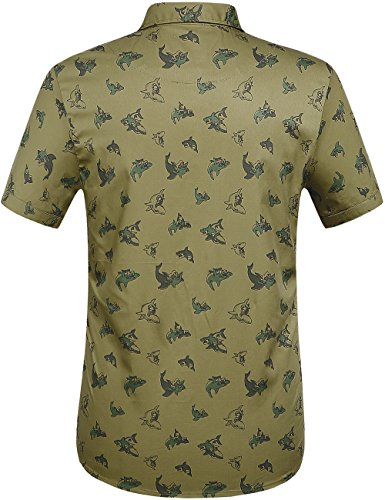 SSLR Men's Shark Prints Casual Button Down Short Sleeve Shirts (Small, Olive Green)