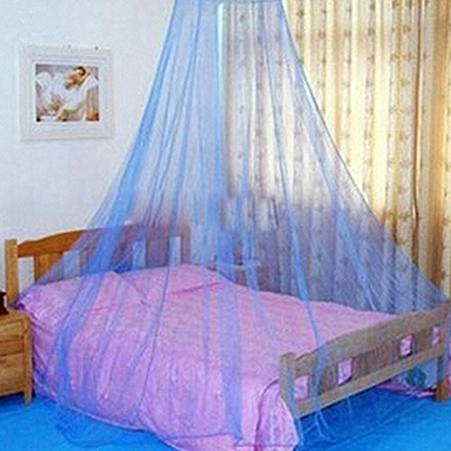 House Bedding Decor Round Hoop Bed Canopy Mosquito Net Dome Bed Canopy Netting Princess Mosquito Net (Blue)
