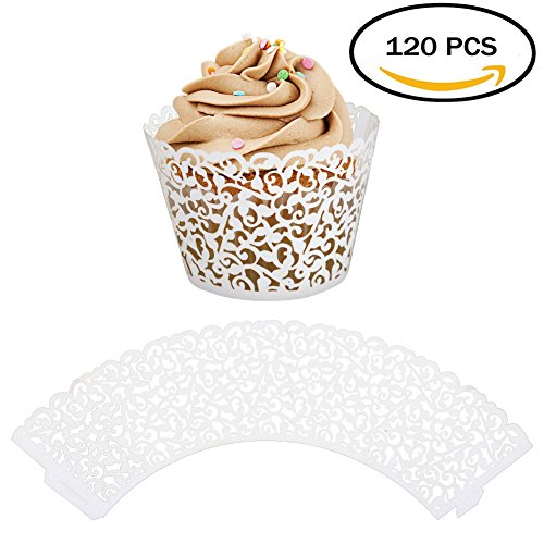 ELENKER 120pcs Cupcake Wrapper Lace Laser Cut Filigree Cupcake Wraps Liner  Baking Cup