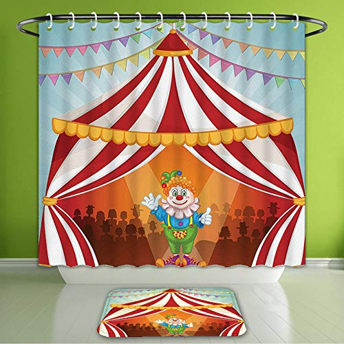 Waterproof Shower Curtain and Bath Rug Set Circus Decor Collection Cartoon Clown in Circus Tent Cheerful Costume Funny Entertainer Joyful Bath Curtain and Doormat Suit for Bathroom 72