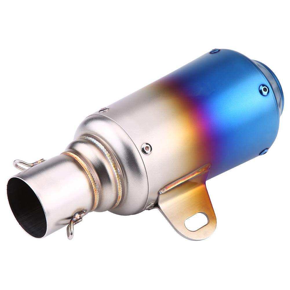 optional Black Half Blue Keenso Universal Motorcycle Muffler Exhaust Tailpipe Tail Pipe Tip Stainless Steel 51mm//2in Titanium-Color Black