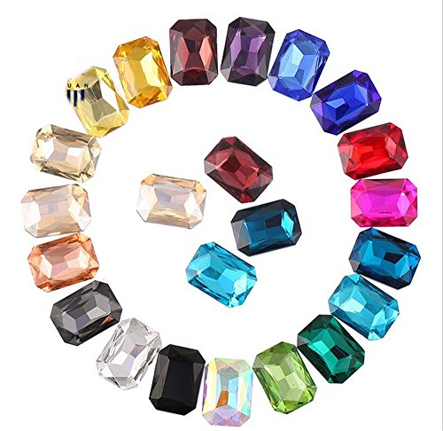ChangJin 100PCS Mixed Colors Pointed Long Octagonal Fancy Glass Stones (13X18MM(40PCS)) - Fancy Crystal