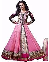 Varona Creation Women's Net Anarkali Suit(Sharddha Pink(6) Pink Free Size)