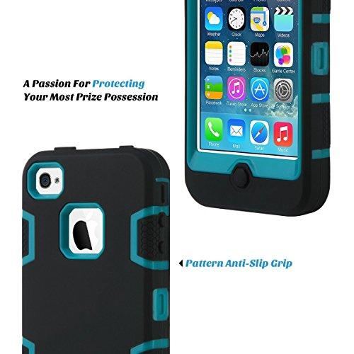 ULAK Carcasa iPhone 4S case iPhone 4 caso funda Choque hñbrida Prueba protector de silicona para el iPhone 4S de Apple iPhone 4 con Protector de pantalla (Negro/Azul) Negro + Azul