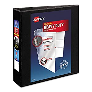 "Avery Heavy-Duty Nonstick View Binder, 2"" One Touch Slant Rings, 500-Sheet Capacity, DuraHinge, Black (05500)"