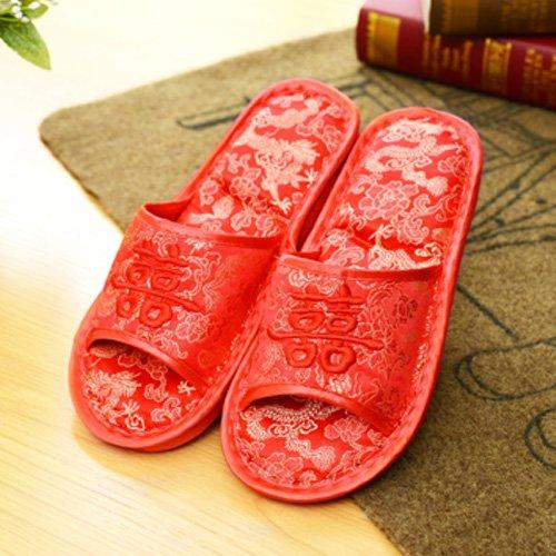 Anti-slittamento scarpe matrimonio home coppie appena sposate a sposarsi cotone rosso pantofole pantofole inverno ha sposato la sua moglie, 260 per le normali operazioni di 36-37, le donne nel campo d