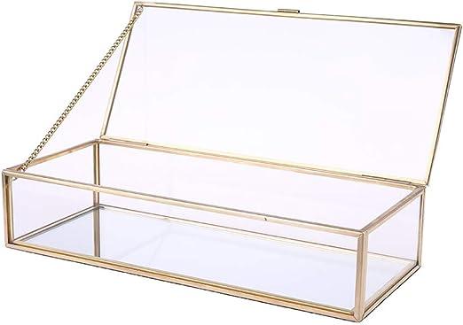 ZJFloral Joyero, caja rústica para anillos de boda, soporte geométrico de almacenamiento de cristal transparente, decoración de joyas, pendientes, collares, regalo para niñas, madre y mujer: Amazon.es: Hogar