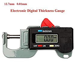 HONG111 Digital Thickness Gauges Mini Portable Horizontal Electronic Thickness Meter Measurement Tool 0 to 12.7mm Caliper, 0.01mm Resolution, -0.03mm Accuracy (Grey Black)