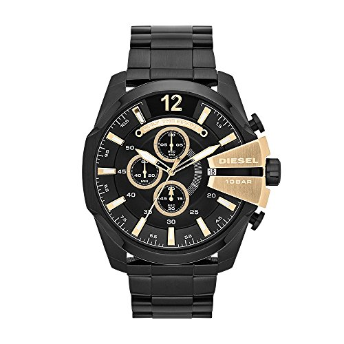 - Diesel Men's Mega Chief Quartz Stainless Steel Chronograph Watch, Color: Black (Model: DZ4338)