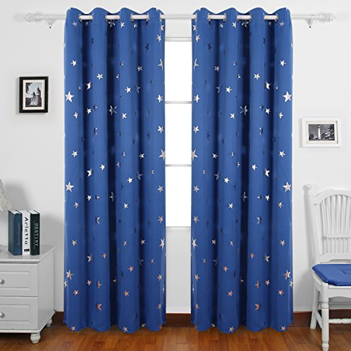 Deconovo Stars Foil Printed Thermal Insulated Ready Made Curtains Eyelet Blackout Curtains for Boys Bedroom 46 x 90 Inch Blue One Pair