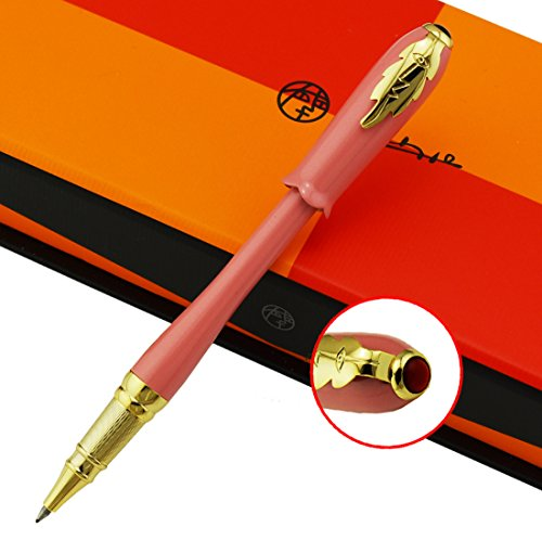 Picasso Greek Irene Pink Rollerball Pen Black Ink Refill Bud Cap Leaf Clip Uniqu Style Gift Box Set