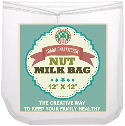Traditional Kitchen Nut Milk Bag - Strainer & Cheesecloth Food Grade - Almond Milk, Yogurt and Juice Maker - Cold Brew Coffee Filter – Reusable bags - Fine Mesh Nylon - Perfect quality & size 12