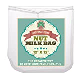 Traditional Kitchen Nut Milk Bag - Strainer & Cheesecloth Food Grade - Almond Milk, Yogurt and Juice Maker - Cold Brew Coffee Filter – Reusable bags - Fine Mesh Nylon - Perfect quality & size 12'x12'
