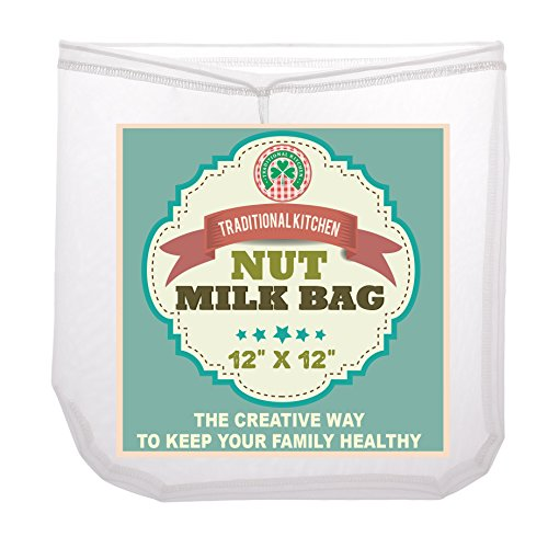 Traditional-Kitchen-Nut-Milk-Bag-Strainer-Cheesecloth-Food-Grade-Almond-Milk-Yogurt-and-Juice-Maker-Cold-Brew-Coffee-Filter-Reusable-bags-Fine-Mesh-Nylon-Perfect-quality-size-12x12