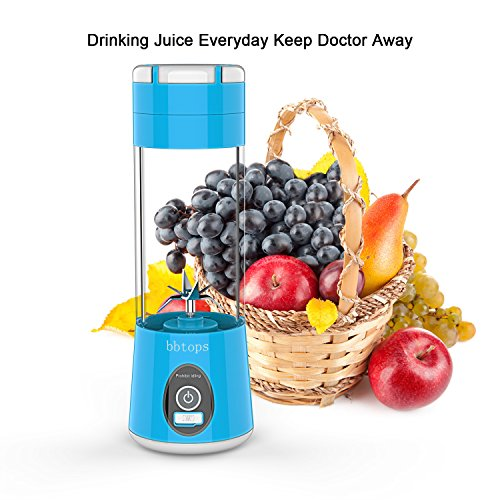 Portable Blender Mini Travel Juice Cup, Bbtops Fruit Mixer Personal Size Battery Operated Juicer Cup USB Charging Sport Juice Maker, Protein Shakes and Smoothies Blender 380ml-Blue