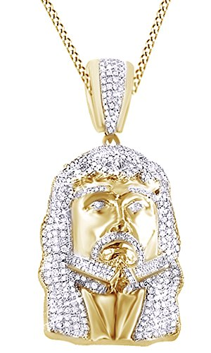 AFFY Round Cut Cubic Zirconia Jesus Face Hip Hop Pendant in 14k Yellow Gold Over Sterling Silver (17.2 Cttw) by AFFY