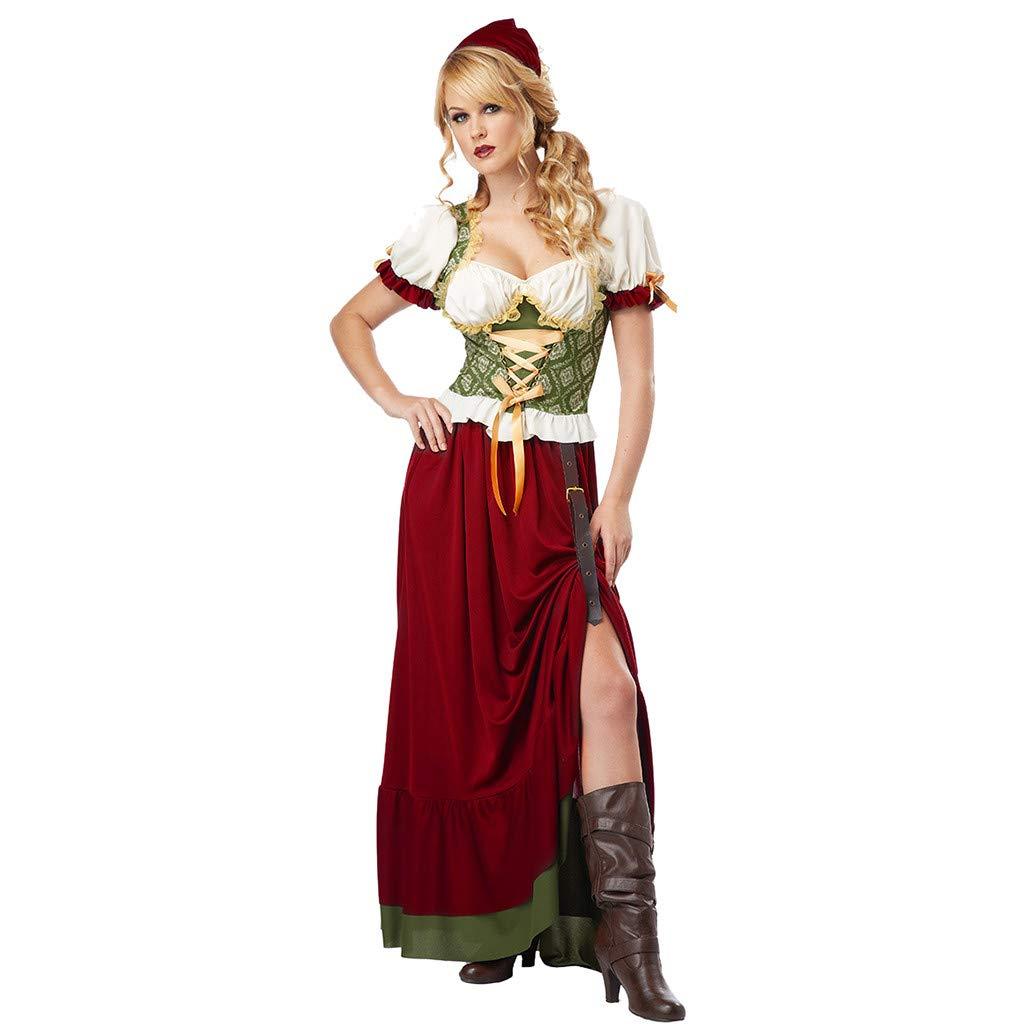 Women Vintage Beer Festival Dress 3 Pieces Bavarian Short Sleeve Waitress Cosplay Costume Dress, Head Scarf, Belt Set (Red, XL)