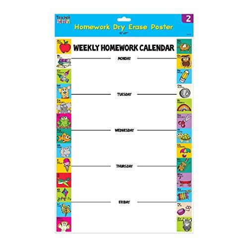 FLOMO Homework Dry Erase Poster (1 pack of 2 posters) Homework Poster Chart - 12 1 2 Writing Poster