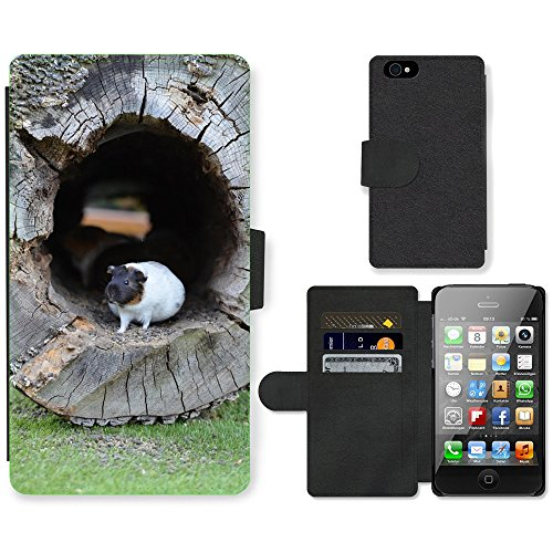 Just Phone Cases PU Leather Flip Custodia Protettiva Case Cover per // M00127472 Guinée Pig Zoo Doux // Apple iPhone 4 4S 4G