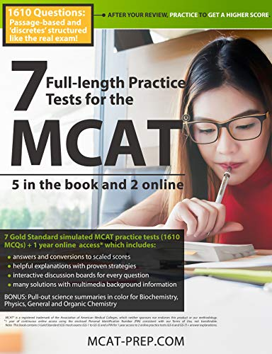 7 Full-length MCAT Practice Tests: 5 in the Book and 2 Online: 1610 MCAT Practice Questions based on the AAMC Format (Princeton Review Mcat Subject Review Complete Box Set)