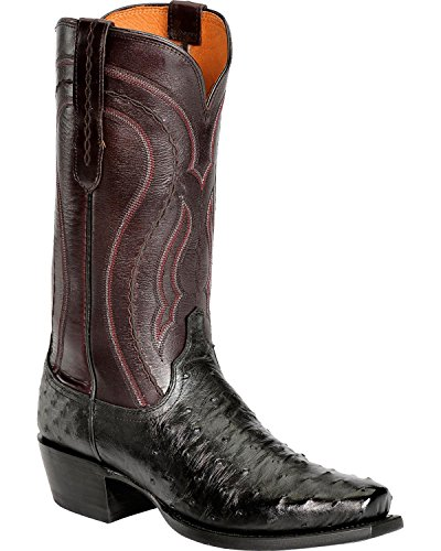 1883 Full Quill - Lucchese Men's Handmade 1883 Montana Full Quill Ostrich Western Boot Snoot Toe Black 8 D(M) US