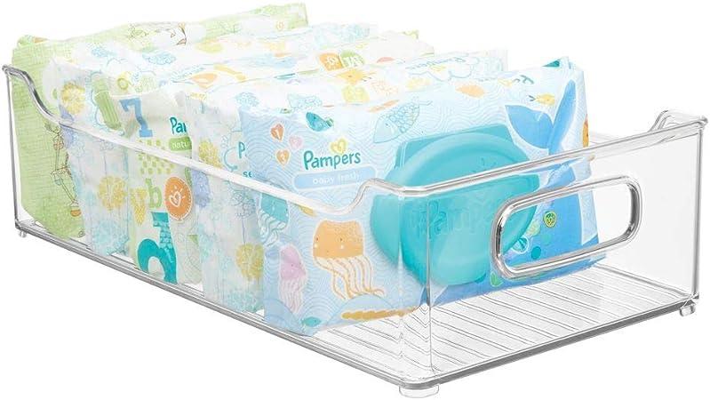 Rangement Chambre Enfant Transparent MetroDecor mDesign Bac /à Jouet Rangement Jouet avec Couvercle pour des Jouets rang/és sur Une /étag/ère ou sous Le lit