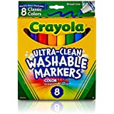 Crayola Ultra-Clean Washable Markers, Broad Line, 8 Count