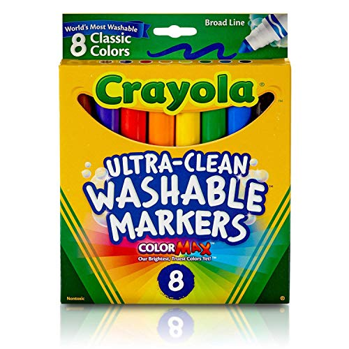 Crayola Ultra-Clean Washable Markers, Broad Line, 8