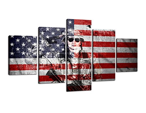 Retro American flag Military canvas Soldier Gun Print art Independence Day USA home decor US wall art pictures for living room 5 panel morden poster painting Framed Ready to hang(60''W x 32''H)