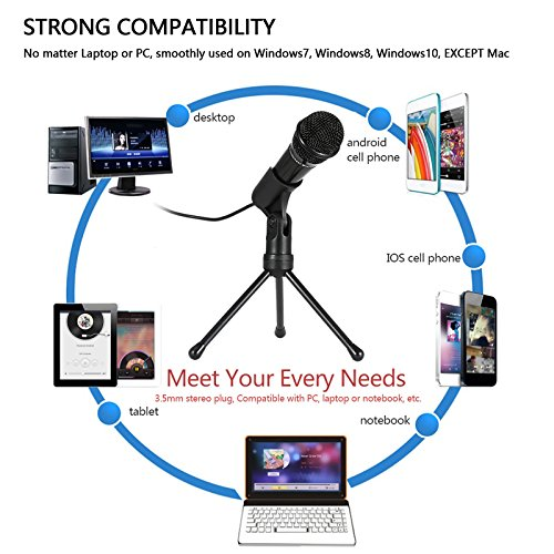 Jeystar SF-910 Condenser Sound Microphone with 3.5mm Audio Plug & Tripo For Computer PC by Jeystar (Image #4)