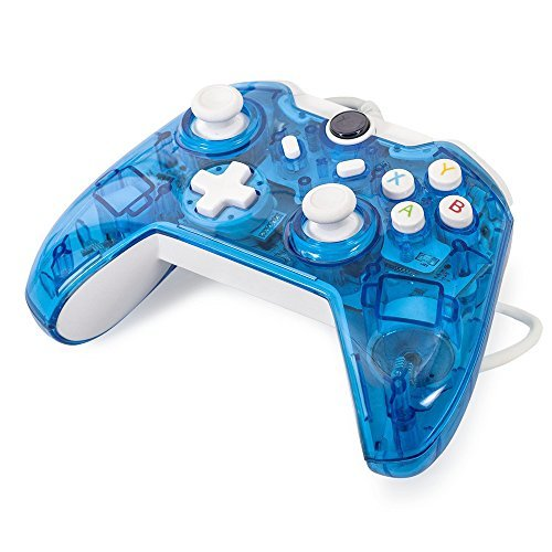 Maexus Wired Xbox One Controller Transparent Blue Gamepad Joypad with Shining LED Lights Support Monster Hunter World Etc.
