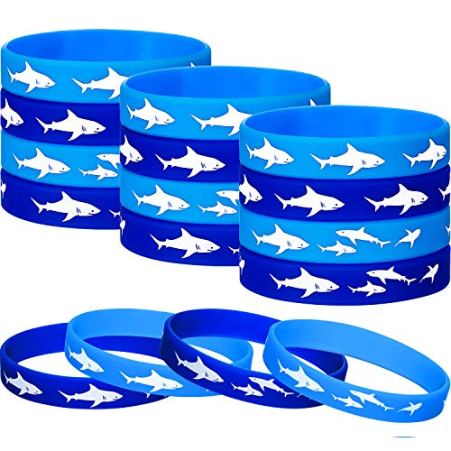 24 Pieces Shark Party Favors Rubber Wristbands Bracelet, Under the Sea, Shark Birthday Party Favors Supplies Gift Decorations (24 Pieces) -