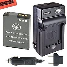EN-EL12 Battery & Battery Charger Kit for Nikon Coolpix AW100 AW110 S31 S800C S6100 S6200 S6300 S8100 S8200 S9050 S9100 S9200 S9300 S9400 S9500 P300 P310 P330 S1100PJ S1200PJ Digital Camera + More!!