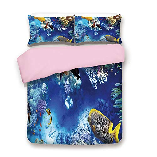 Pink Duvet Cover Set,Queen Size,Wild Underwater Sea Animal Aqua World Corals Tropical Fishes and Stingray,Decorative 3 Piece Bedding Set with 2 Pillow Sham,Best Gift For Girls Women,Navy Blue and Yell ()