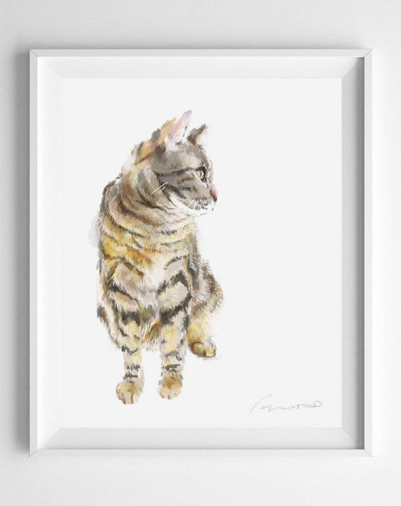 Signed By Artist Gray Tabby Cat Art Print Original Watercolor Painting