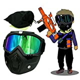 EKIND Tactical Paintball Mask | Motorcycle Goggles With Removable Face Mask | Airsoft Safety Goggles Mask UV400 Protection For Nerf N-strike Elite Toy Gun Game Rival Ball