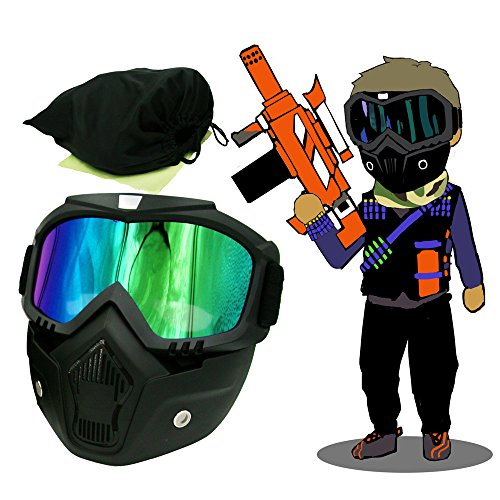 EKIND Tactical Paintball Mask | Motorcycle Goggles With Removable Face Mask | Airsoft Safety Goggles Mask UV400 Protection For Nerf N-strike Elite Toy Gun Game Rival Ball -