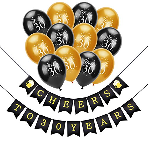 Konsait 30th Birthday Decoration, Cheers to 30 Birthday Banner,Hello 30 Birthday Balloons, Black and Gold,for Man Women Celebration 30th Birthday for 30 Years Old Party Decor Favors Supplies -