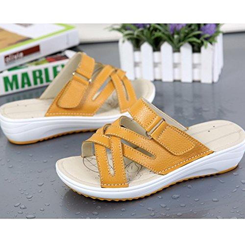 Vintage Confortable Eté Tongs Plage Femme Sandales Chaussure Frestepvie Jaune de Compensée Casual Vacances Mules Mode 4Yf87qg
