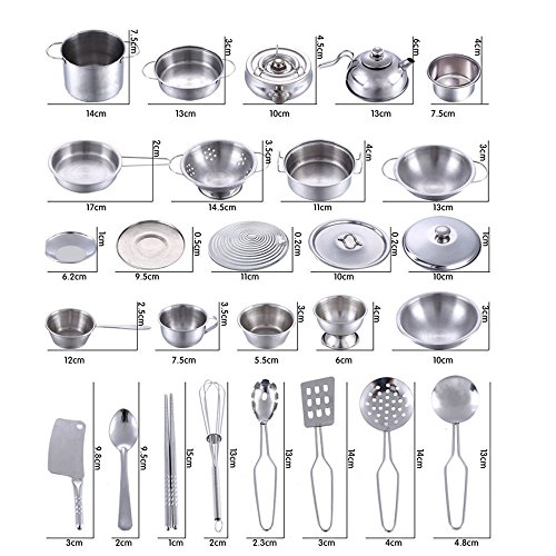 Kids Stainless Steel Kitchen Play House Toys Set - AmyDong Super Anti-Fall Cookware Cooking Utensils Pots Pans Gift 16 Pcs