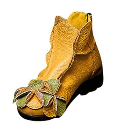 MYMYG Ankle Boot Winterschuhe Frauen handgenähte Blumen Schuhe ethnischen Stil Stiefel Leder Casual Stiefel Klassische Freize