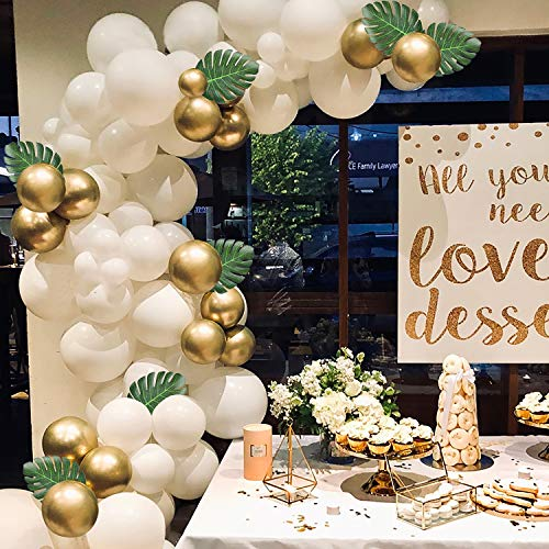 WATINC 121 Pcs Balloon Garland Arch Kit, 16Ft Long White and Gold Latex Balloons Pack for Party Backdrop Background Decorations, 10pcs Artificial Palm Leaves, Party Decorations for Baby Shower - 16 Gold Leaf