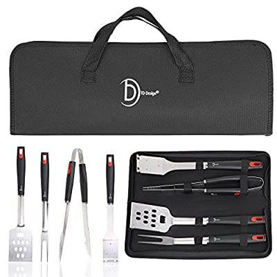 TD Design Deluxe Heavy Duty Stainless Steel BBQ Grill Set Tools Barbecue Tools Grilling Utensils - Grill Spatula, Barbecue Tongs, BBQ Fork, and Cleaning Brush