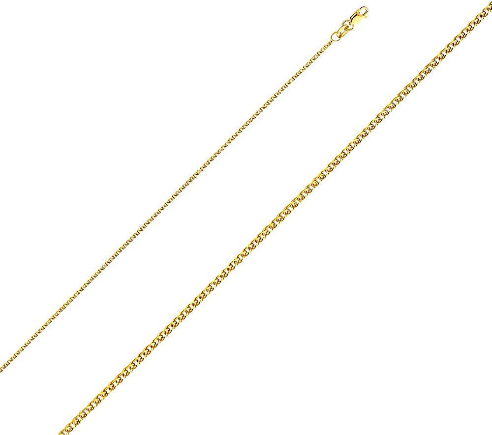 14K Yellow Gold Plain Heart Charm Pendant with 1.2mm Flat Open Wheat Chain Necklace
