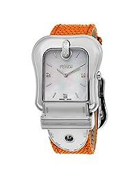 Fendi Women's 'B.' Swiss Quartz Stainless Steel and Leather Dress Watch, Color:Orange (Model: F382014591D1)